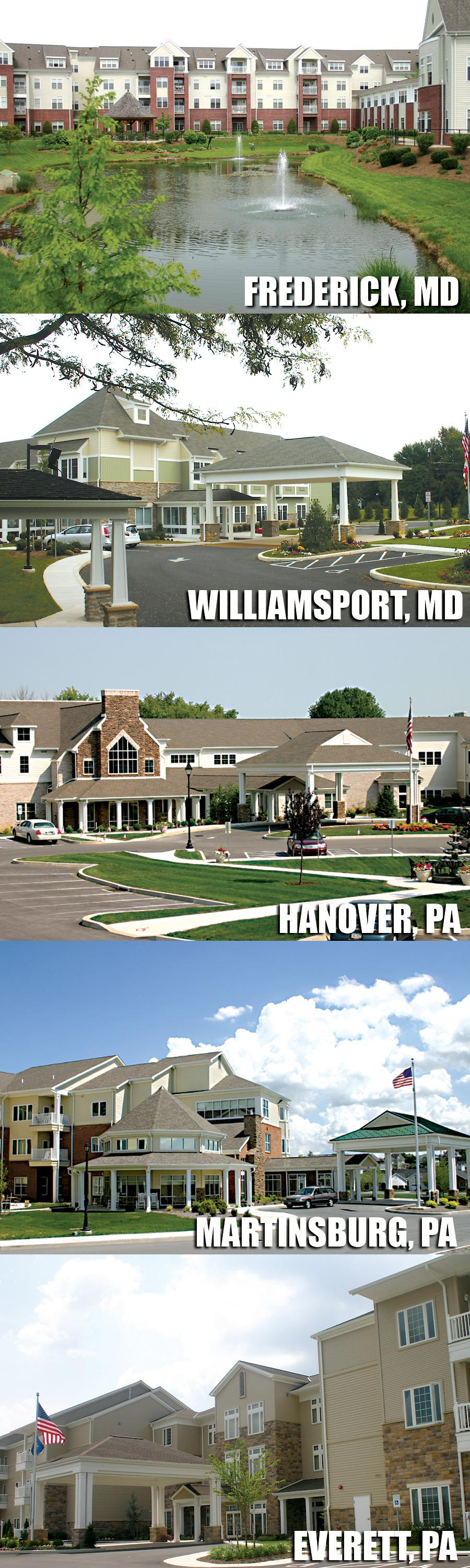 Homewood Locations - Frederick, MD, Williamsport, MD, Hanover, PA, Martinsburg, PA, Everett, PA
